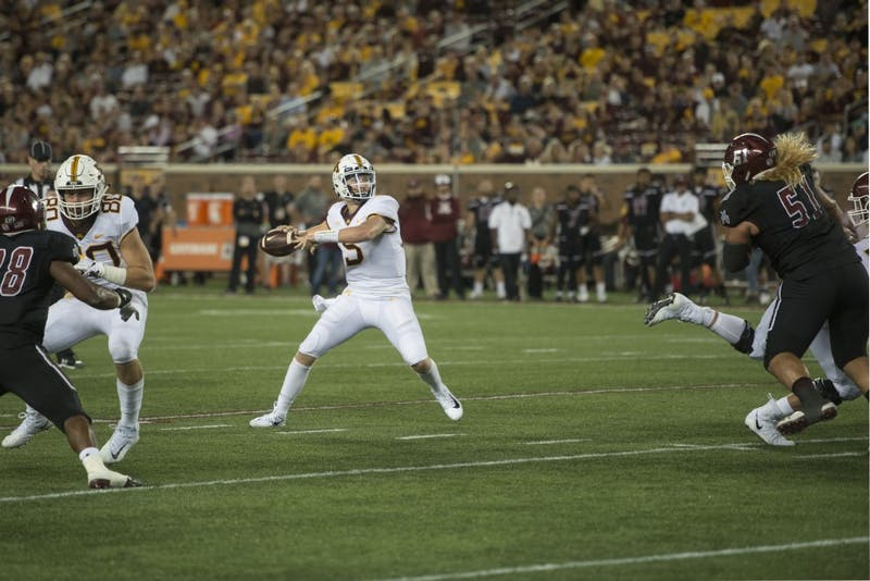 Quarterback Zack Annexstad looks to throw the ball at TCF Bank Stadium on Thursday, Aug. 30. The Gophers defeated the New Mexico State Aggies 48-10.