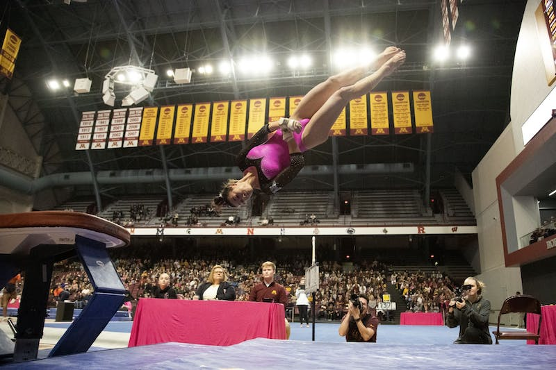 The No. 7 University of Minnesota defeated No. 17 Illinois in their home opener at the Maturi Pavilion on Saturday, Jan. 25 with a score of 196.300 to 195.225.
