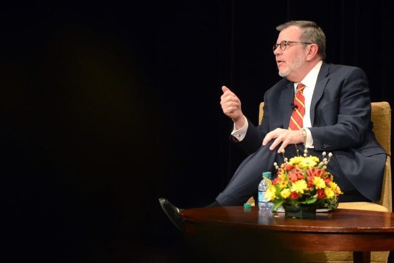 University President Eric Kaler fields questions from the audience at his State of the University address in Coffman Union on March 2, 2017.