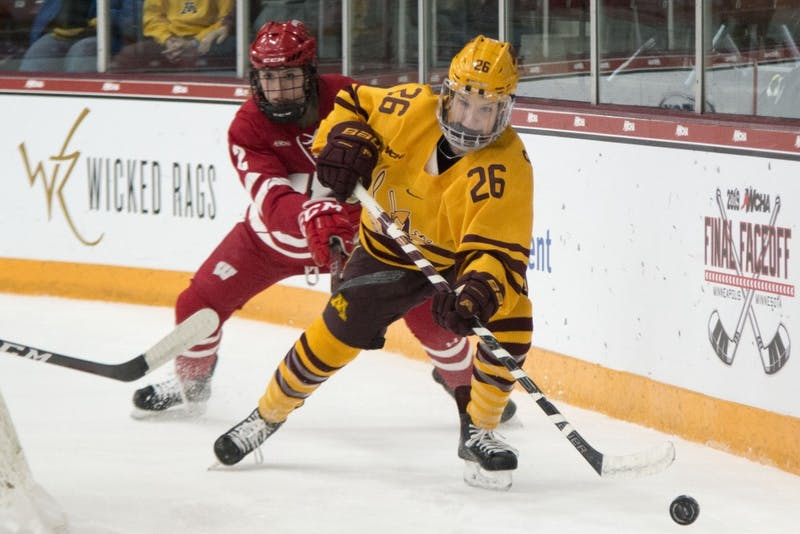 Forward Sarah Potomak chases after the puck at Ridder Arena on Sunday, March 10.