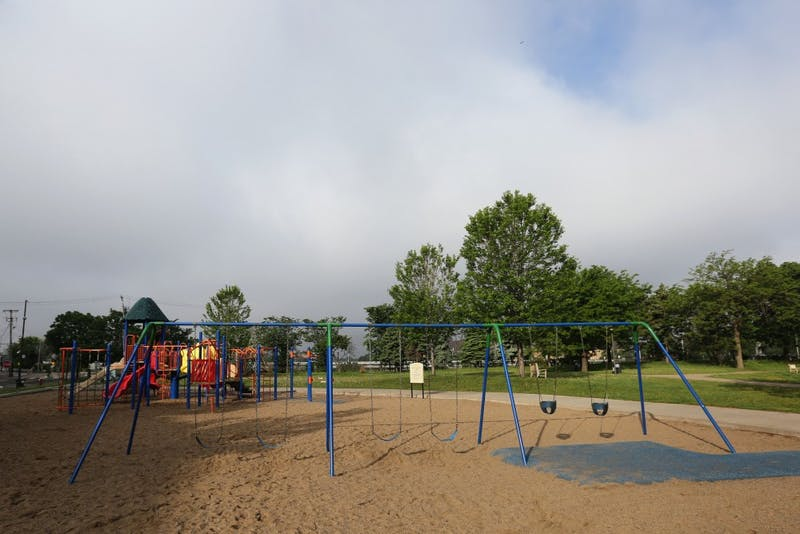 Currie Park is seen on Thursday, May 31, 2018 in Minneapolis. The Minneapolis Park Board is making improvements to the park such as converting the wading pool into a splash pad and upgrading the playground.