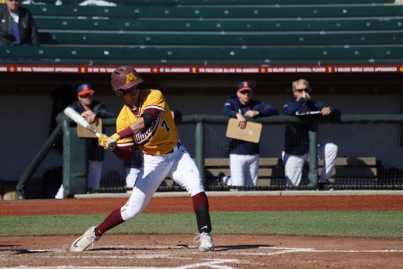 Jordan Kozicky eyes the ball during the game against Illinois on Sunday, April 14 at Siebert Field in Minneapolis. The Gophers lost 3-13.