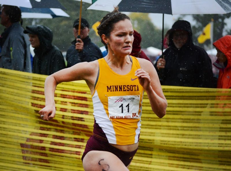 Minnesota senior Rachel Drake runs in the Roy Griak Invitational on Saturday, Sept. 28, 2013, at Les Bolstad Golf Course. Drake was nominated for a Rhodes Scholarship.