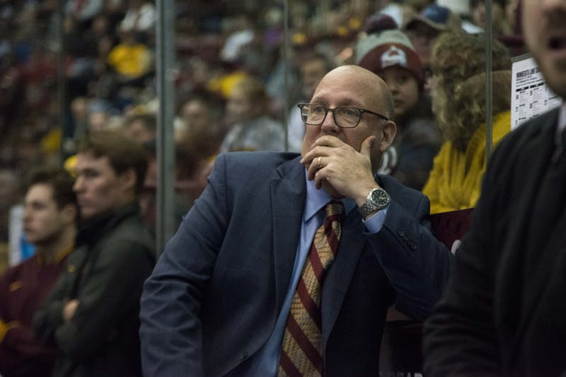 Head coach Bob Motzko watches the game against the Wisconsin Badgers at 3M Arena at Mariucci on Friday, Nov. 22. The Gophers won 4-1.