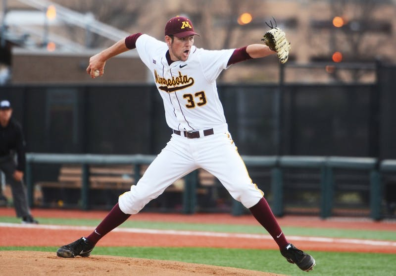 Gophers pitcher Toby Anderson throws the ball against Kansas State at Siebert Field on April 28, 2015.
