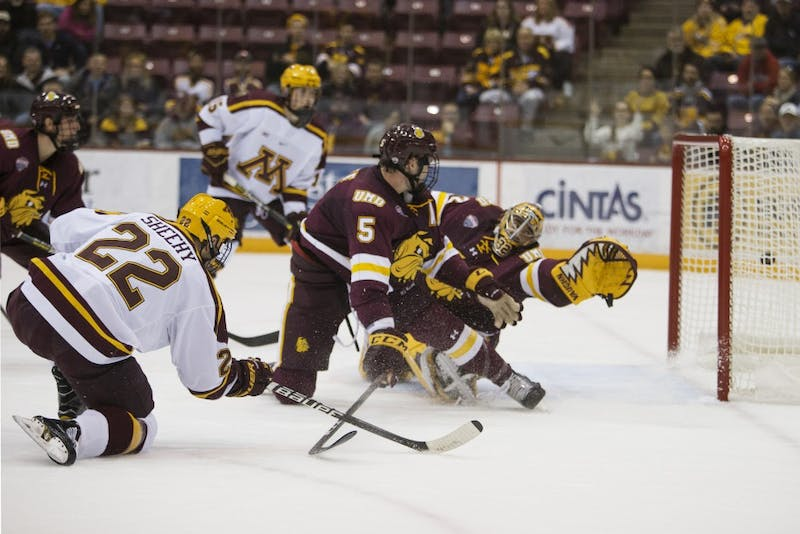 Senior forward Tyler Sheehy scores a goal during the game against the University of Minnesota Duluth on Sunday, Oct. 7.
