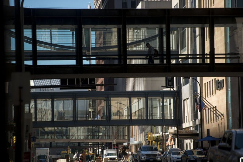 A person walks through a skyway along South 5th Avenue on Wednesday Aug. 31, 2016 in downtown Minneapolis. The city of Minneapolis is considering using bird safe glass on skyways as the Vikings stadium raised concerns to activists.