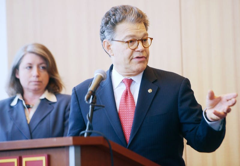 Sen. Al Franken, D-Minnesota, speaks at an event at TCF Bank Stadium on Wednesday, May 1, 2013. Over 20 Democratic senators have called on Franken to resign after a new sexual misconduct allegation surfaced Wednesday.