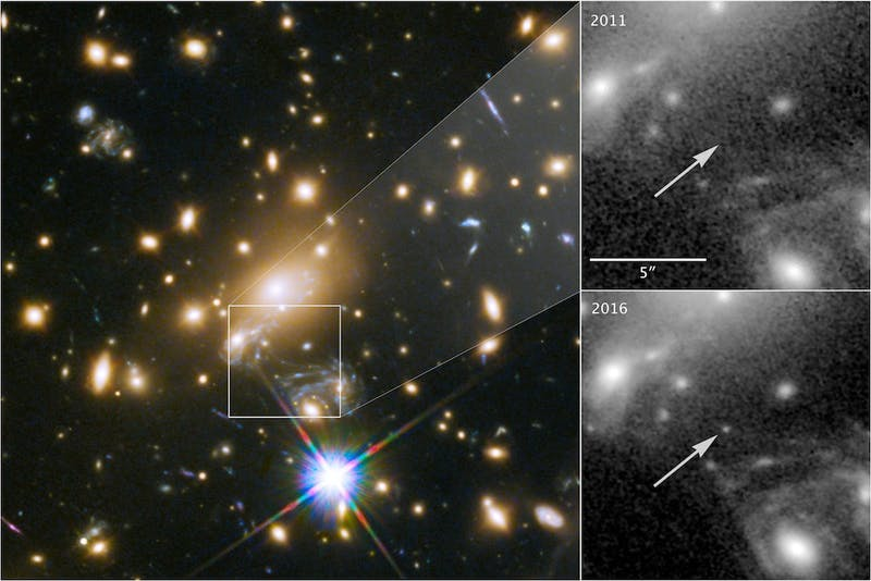 This image composite shows the discovery of the most distant known star using the NASA/ESA Hubble Space Telescope.
