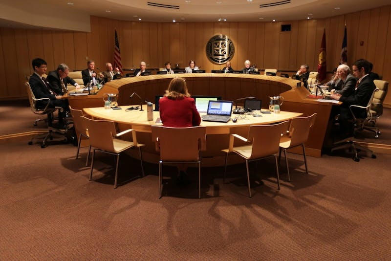 The University of Minnesota Board of Regents hears a presentation from University of Minnesota-Crookston Chancellor Mary Holz-Klause at McNamara Alumni Center on Thursday, Feb. 8, 2018.