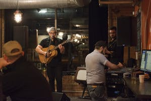 Regional Dialect, a local music duo consisting of Mathias Hertel, left, and Colin Doherty, performs at Bummer Strummer Sessions at Five Watt Coffee on Friday, Oct. 21.
