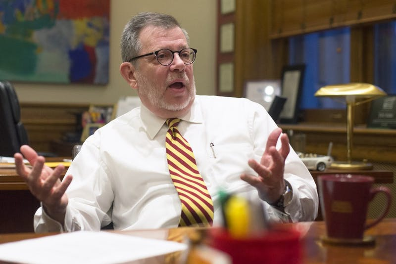 University President Eric Kaler fields questions during an interview with the Minnesota Daily on Thursday, Nov. 16.