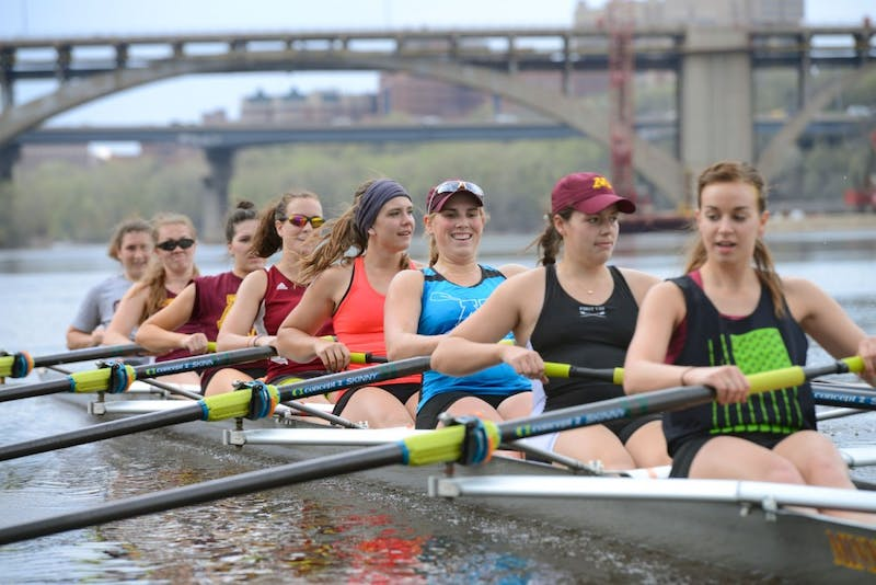 University of Minnesota rowers Lisa Weeks, Jessica Flakne, Catherine Ahrens, Sara Scarbro, Haley Bagley, Anna Greene, Bee Lovick, and Kortney Luedloff practice on the Mississippi River on Monday afternoon.