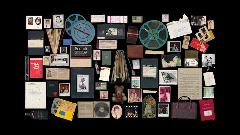 """A grid of possessions of Miguel Dieppa, the subject of Cecilla Aldarondo's film """"Memories of a Penitent Heart"""""""