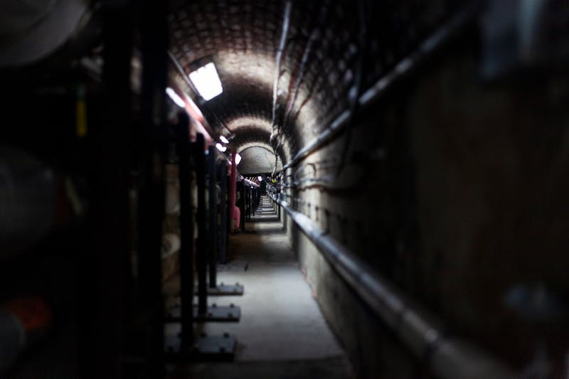 A distribution tunnel dug during the construction of the original building at the beginning of the twentieth century remains beneath the Main Energy Plant on Thursday, Nov. 14.