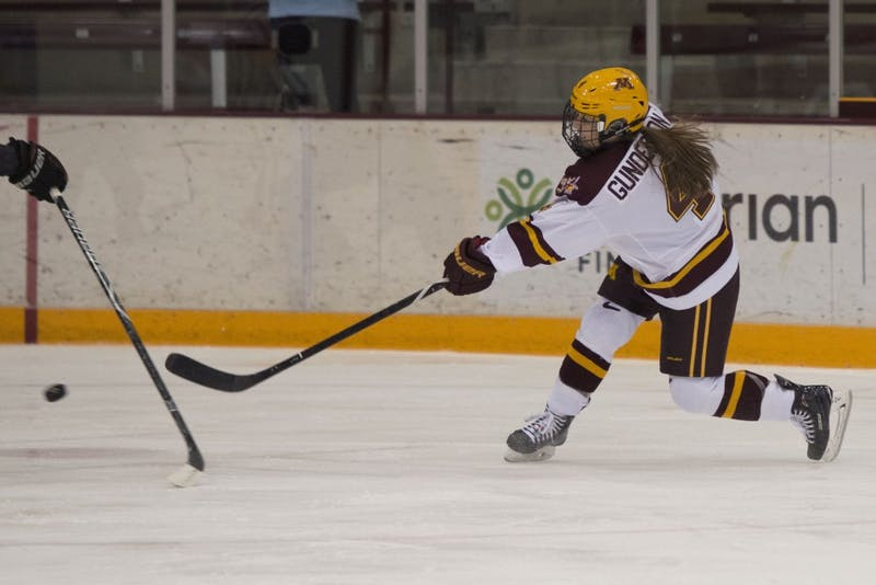 Forward Tianna Gunderson shoots the puck at Ridder Arena on Friday, Oct. 19, 2018. The Gophers beat Ohio State 3-0.