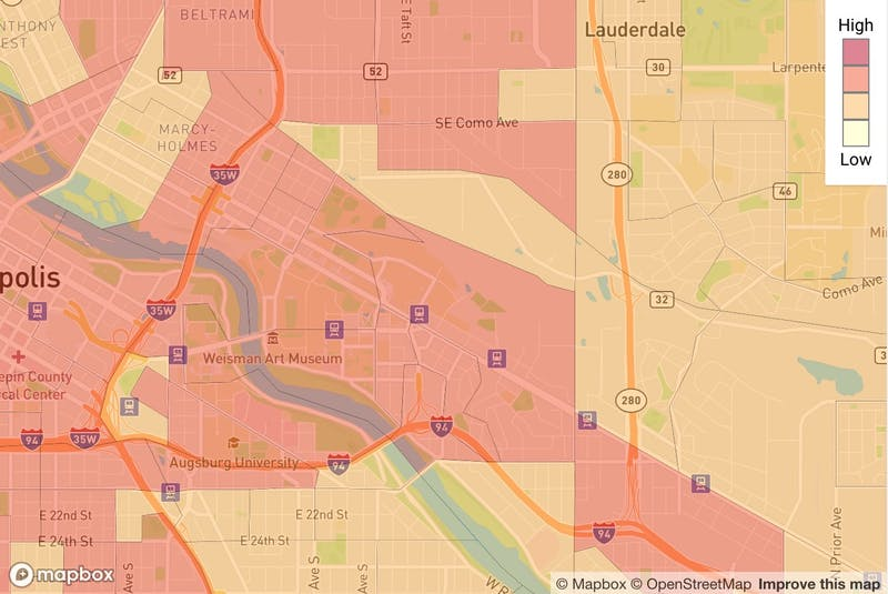 Screenshot of a SafeDistance map, which shows COVID-19 risk areas around the University of Minnesota campus and surrounding neighborhoods as of June 9.