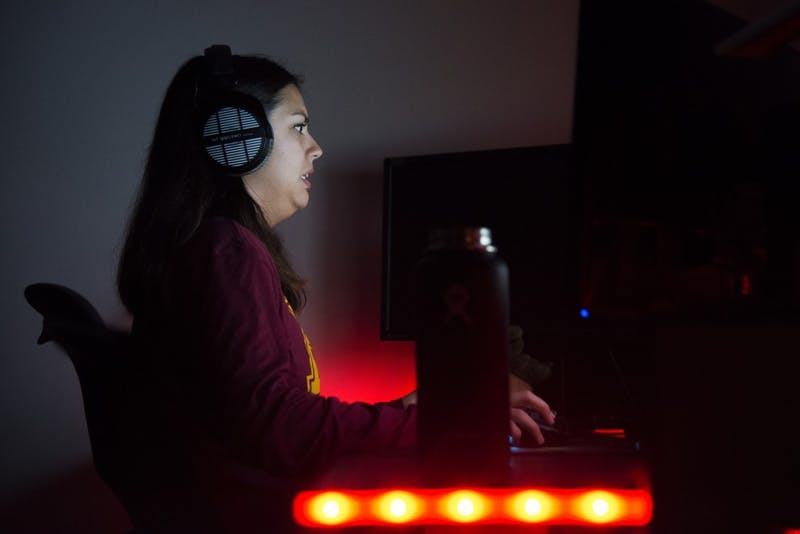 Siouxsie Steengrafe plays a game of Overwatch with the University ESports team on Sunday, Oct. 28. Steengrafe uses the computer game as a creative outlet for her competitive nature.