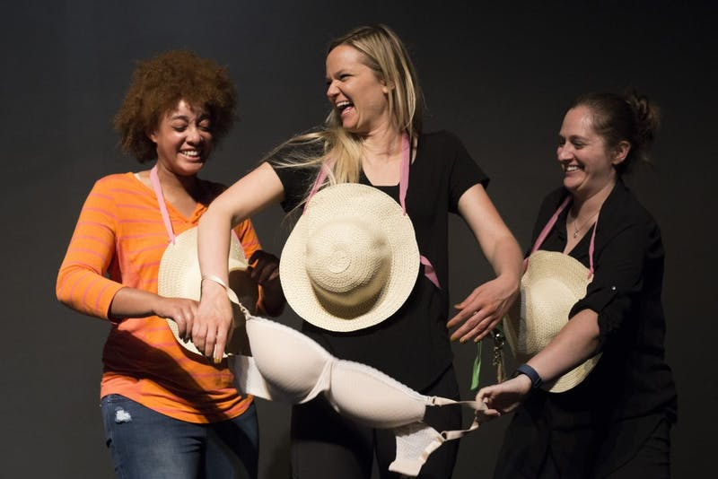 "Members of Ladybrain Sketch Comedy perform a sketch about the male gaze and the ""Free the Nipple"" movement while rehearsing at Strike Theater on Monday, June 4 in Northeast Minneapolis."