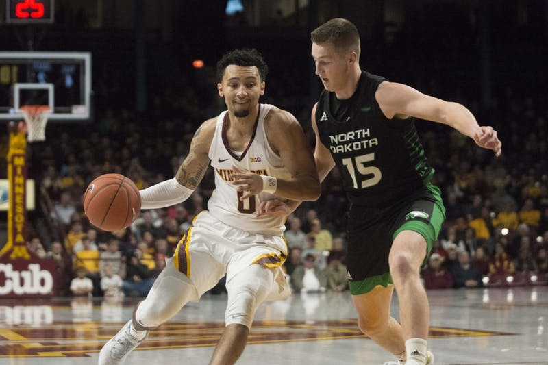 Guard Payton Willis brings the ball up the court at Williams Arena on Sunday, Nov. 24. The Gophers defeated North Dakota 79-56.