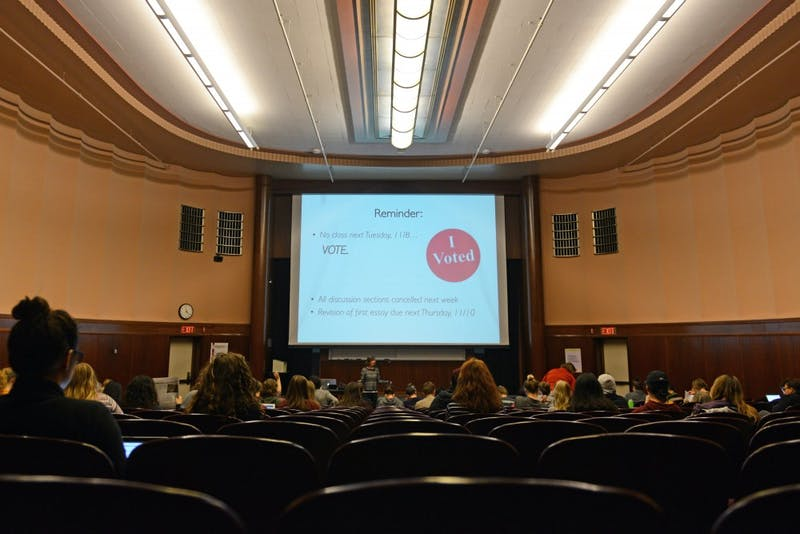 Gender, Women and Sexuality Studies professor Michelle Garvey lectures during her feminist theory class on Thursday, Nov. 3, 2016 at the Bell Museum. Garvey reminded students that lecture is cancelled Tuesday so students have no excuse not to vote in the general election on Nov. 8.