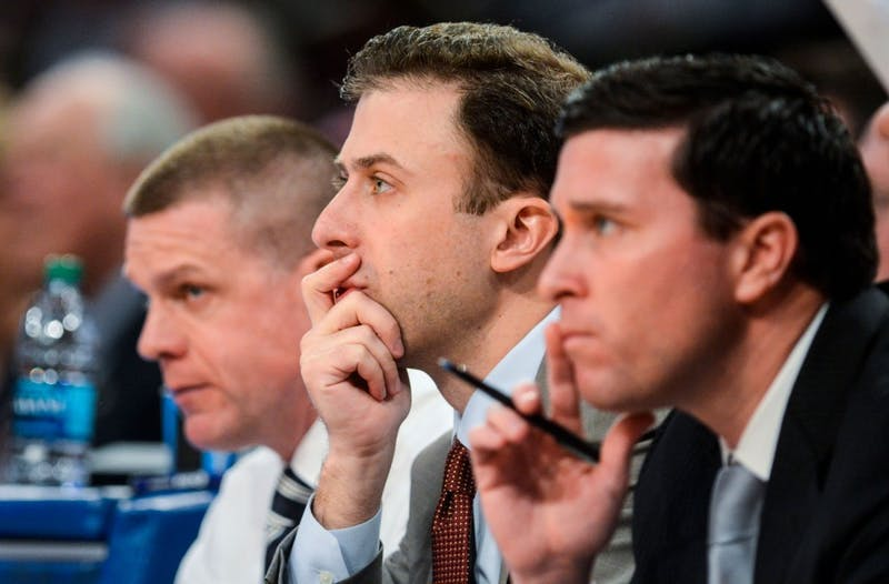 Minnesota men's basketball head coach Richard Pitino watches his team play Thursday, April 3, 2014, at the National Invitation Tournament finals at Madison Square Garden in New York.