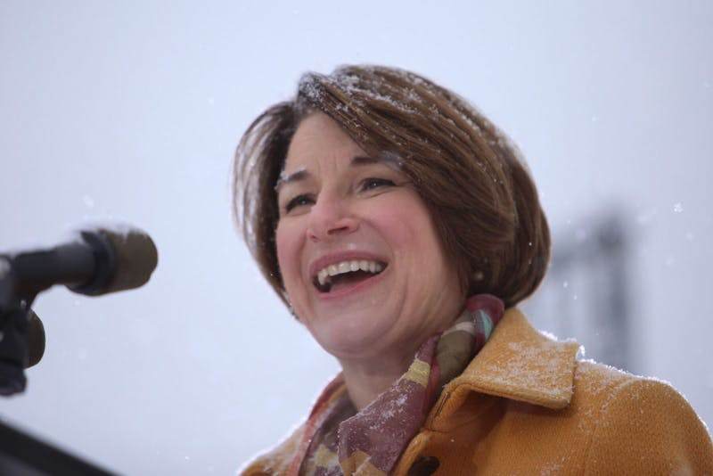 Senator Amy Klobuchar announces her 2020 presidential bid on Sunday, Feb. 10 at Boom Island Park in Northeast Minneapolis.