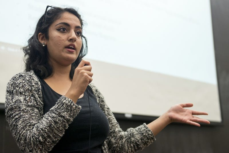 Former Minnesota Student Association President Abeer Syedah speaks during an MSA forum in Mondale Hall on Sept. 13, 2016.