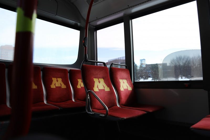 A Campus Circulator makes its way around campus on Feb. 28 in Minneapolis. Students have made complaints about the efficiency of University buses, noting poor timing leading to jam packed or empty buses.