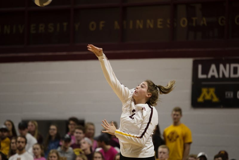 Regan Pittman serves the ball during the game against the Northwestern Wildcats on Saturday, Oct. 13.