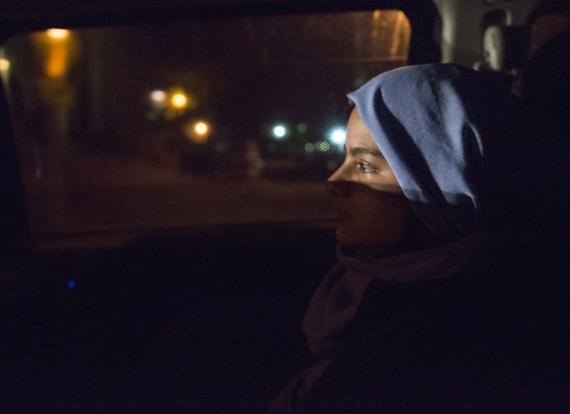 Communications PhD student Samira Musleh rides the Gopher Chauffeur on Sunday, Oct. 21, which was the first Sunday that the ride service has run as it will now serve students seven days a week.