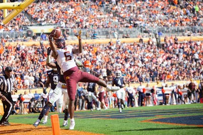 Gophers Wide Receiver Tyler Johnson receives a pass in the endzone at Raymond James Stadium in Tampa, Florida on Wednesday, Jan. 1. Minnesota holds a 24-17 lead over Auburn heading into the third quarter of the Outback Bowl. (Kamaan Richards / Minnesota Daily)