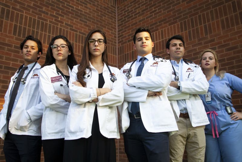 University of Minnesota Medical Students, from left, Omar Cespedes, Regina Lorenzo,  Karina Romo, David Molinar, Santana Sanchez, and Angelina Omodt-Lopez pose for a portrait on the West Bank Campus on Tuesday, Sept. 17, 2019.