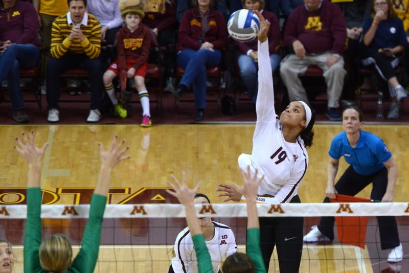 Sophomore outside hitter Alexis Hart hits the ball at Maturi Pavilion during a set against the University of North Dakota on Friday, Dec. 1.