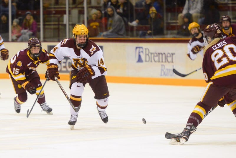 Lindsay Agnew skates towards the puck on Friday, Dec. 8 at Ridder Arena.
