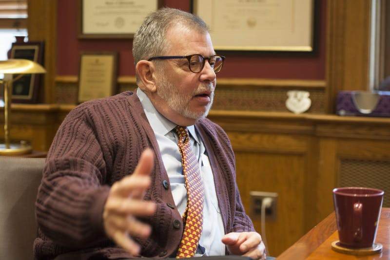 University President Eric Kaler answers questions from the Minnesota Daily on Thursday, Sept. 27, 2018 in his office at Morrill Hall. Kaler told the Daily his favorite part about the fall semester is watching Gopher football and volleyball games.