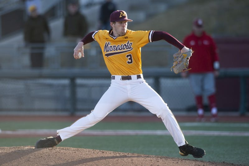 Pitcher Brett Schulze throws the ball at Siebert Field on Friday, March 29. Eli Wilson's home run in the bottom of the tenth inning lead the Gophers to a 5-2 win over Nebraska.