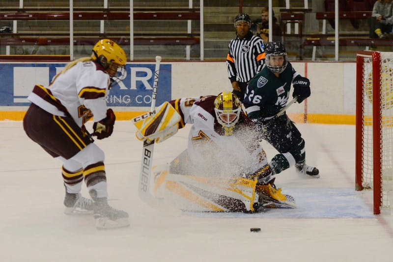 Sophomore goaltender Alex Gulstene makes a save. Gopher women's hockey beat Mercyhurst 4-2 in their season opener on Friday, Sept. 28 at Ridder Arena.