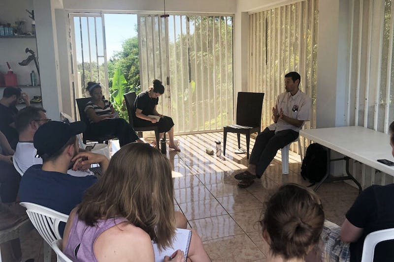 Professor Marcel Castro Sitiriche address the UMN Global Convergence Lab class in Puerto Rico. Courtesy of the Community Resiliency Blog 2020.