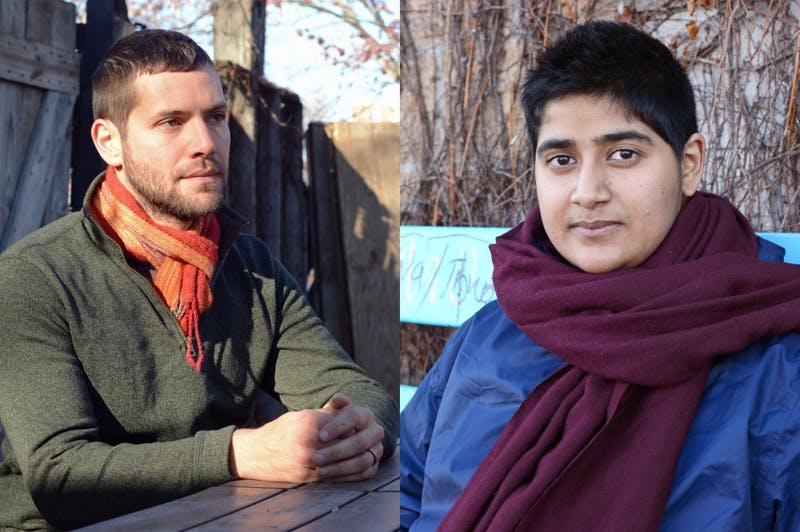 Ph.D. candidate in ecology, evolution and behavior Jake Grossman, left, and Ph.D. candidate in sociology Snigdha Rumar pose for portraits at Seward Cafe on Saturday, Nov. 25.