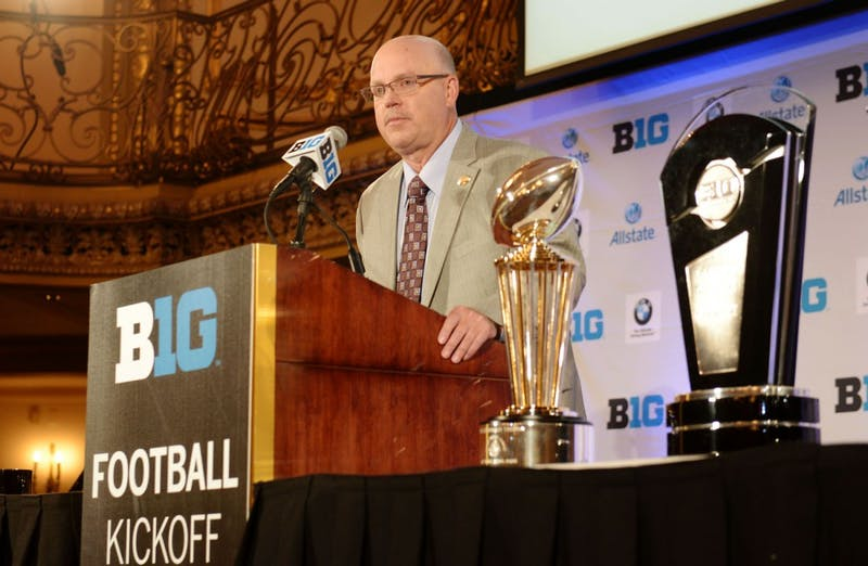 University football coach Jerry Kill addresses the press at the Big Ten media days in Chicago on Wednesday, July 24, 2013.