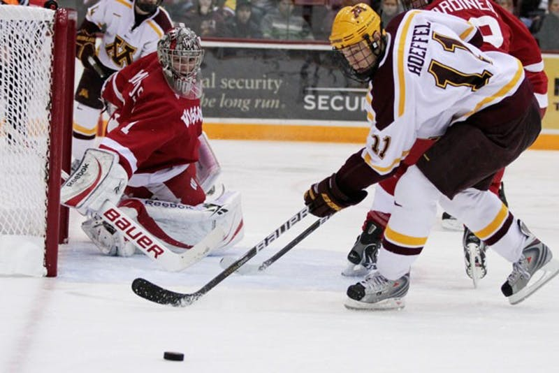 Senior forward Mike Hoeffel plays against Wisconsin November 5 at Mariucci Arena.