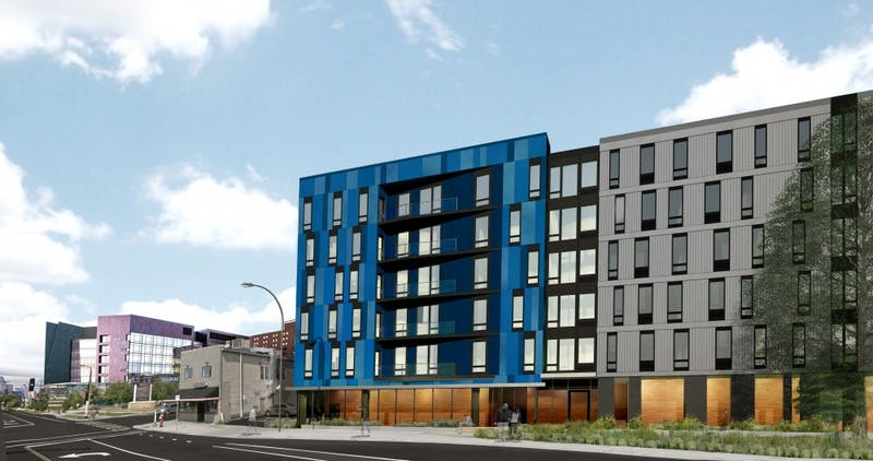 A six-story apartment building is planned for Cedar-Riverside near the Masonic Children's Hospital. The apartment building will replace three homes and a commercial space along Riverside Avenue.