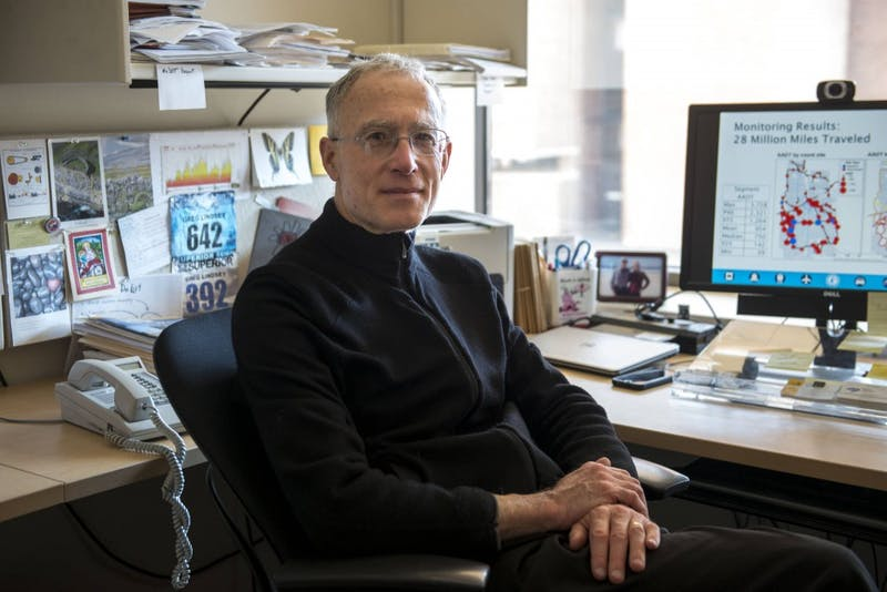 Professor Greg Lindsey poses in his office at the Humphrey School of Public Affairs on Sunday afternoon. Lindsey is currently on sabbatical doing research on bike and pedestrian counting for the Minnesota Department of Transportation.