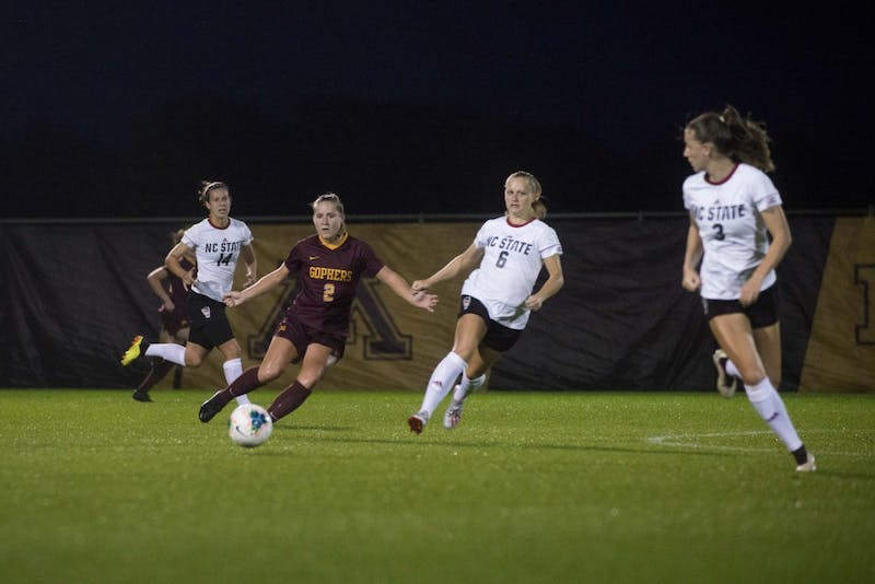 Forward Makenzie Langdok looks to pass the ball up the field at Elizabeth Lyle Robbie Stadium on Thursday, Sept. 12. The Gophers defeated North Carolina State 1-0.