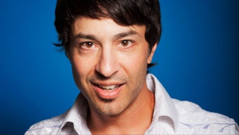 Arj Barker maintains a big presence on stage while exuding calmness.