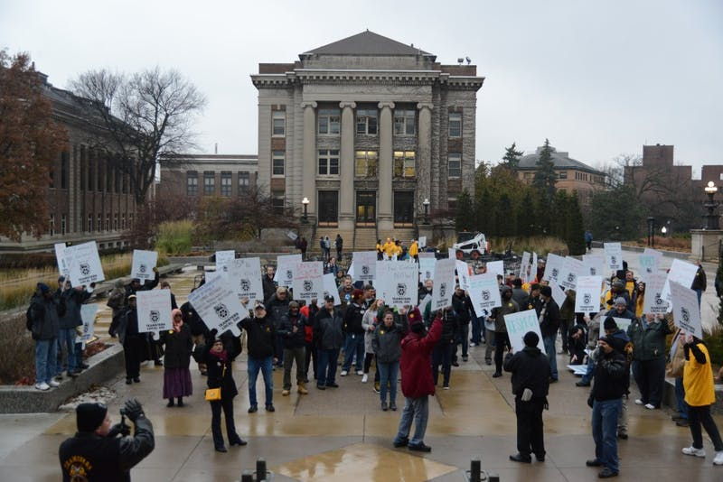 Teamsters Local 320, a union group for public employees, hosted a march on the University of Minnesota campus on Friday, Nov. 17, 2017 outside Morrill Hall on East Bank.
