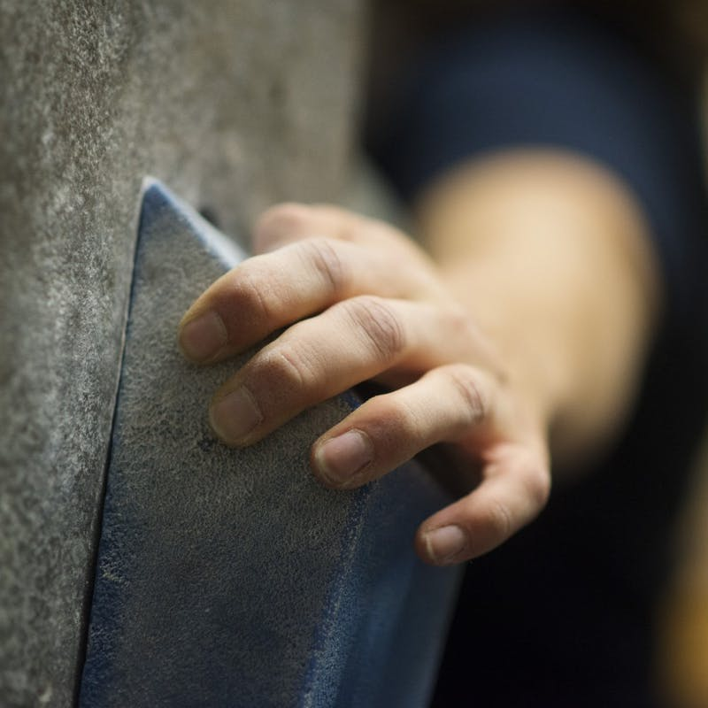 Elaine Kappel grabs onto a hold at the University's bouldering wall during practice with the climb team on Tuesday, Nov. 27.