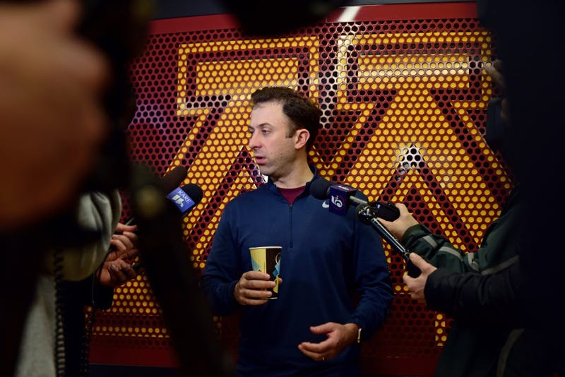 Gophers men's basketball head coach Richard Pitino speaks with media at the new Athlete's Village basketball facilities on Monday. The team held their first practice at the new facility on Jan. 9.