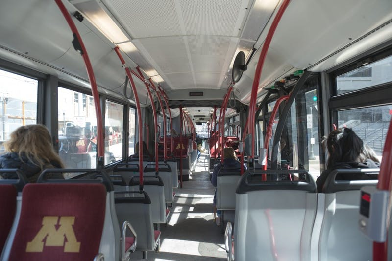 Passengers ride the campus connector bus on Friday, March 29 on the University East Bank campus in Minneapolis.